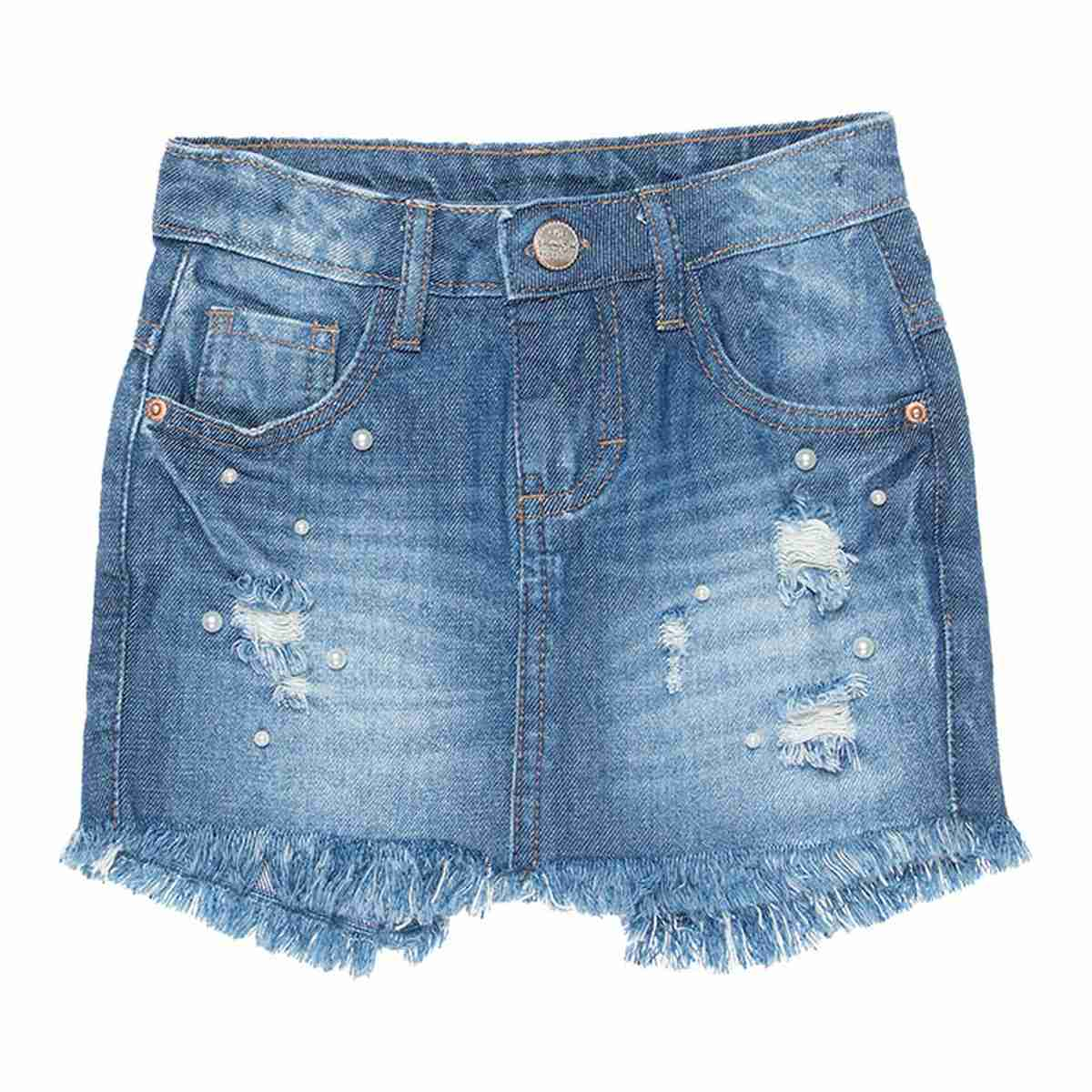 Short Saia Jeans Menina - Mania Kids