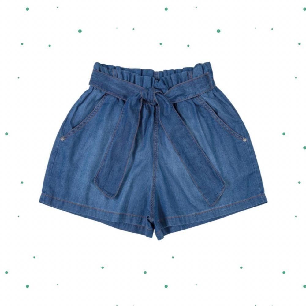 Short Teen Gloss em Malha Jeans