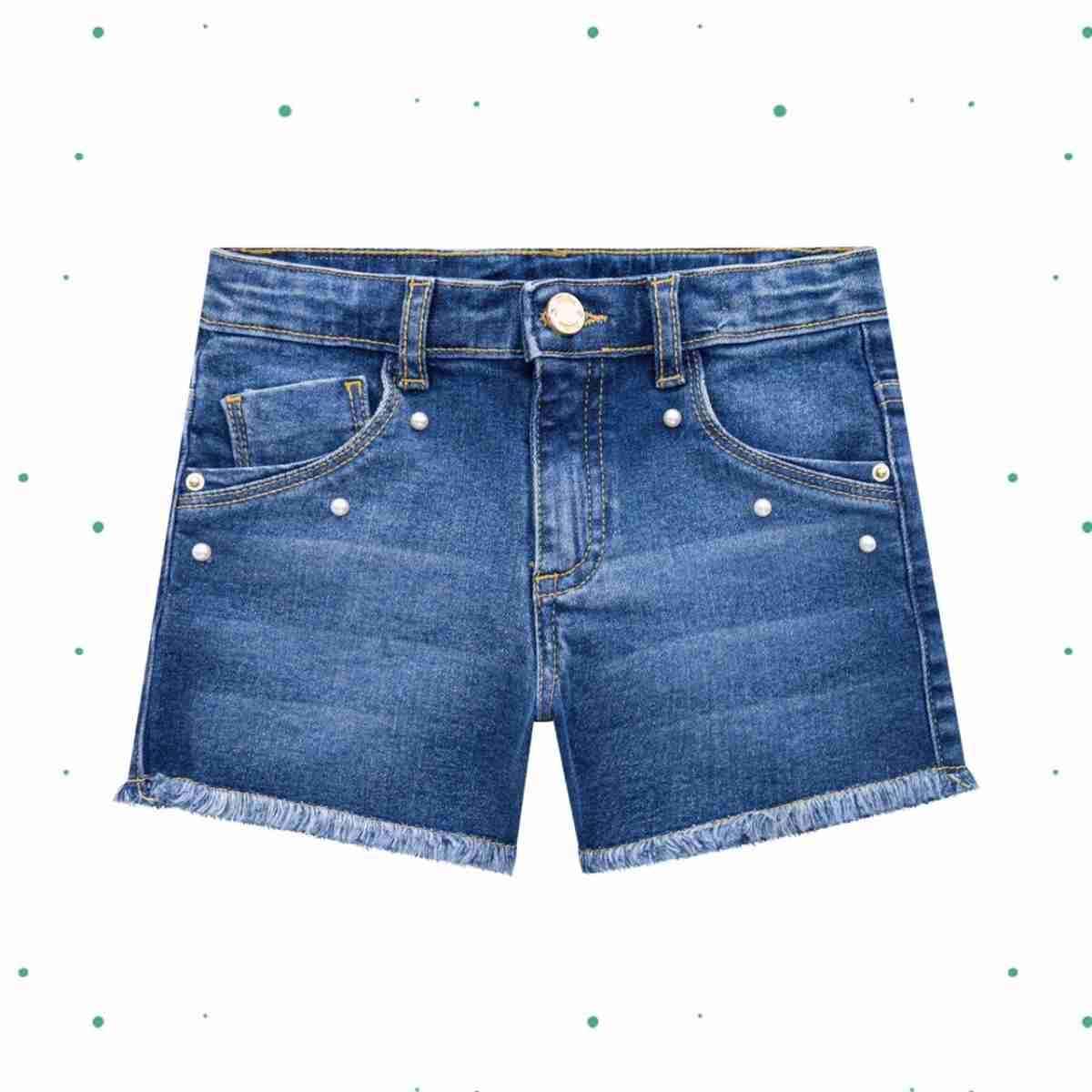 Shorts Infantil Feminino Milon em Jeans com Elastano