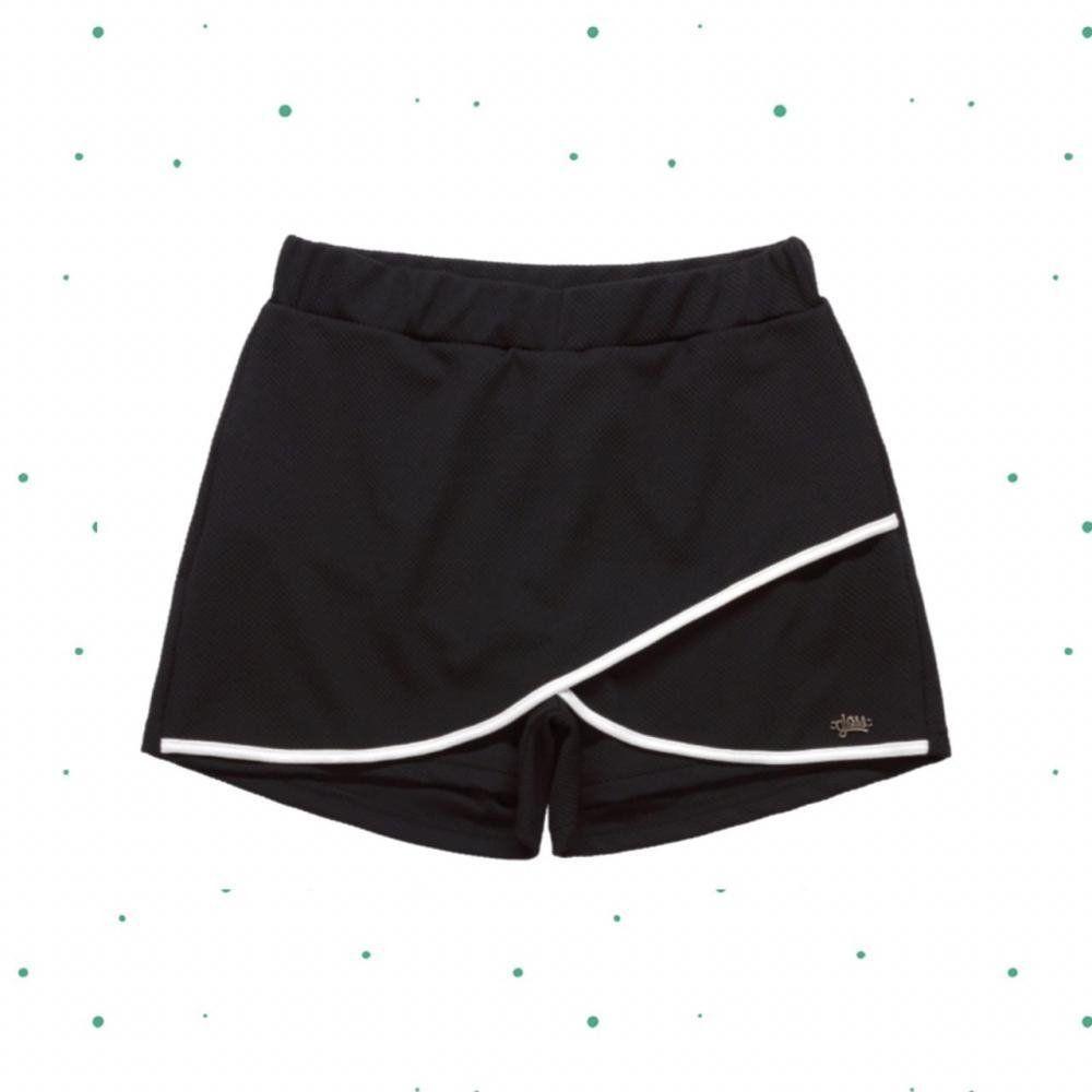 Shorts Saia Teen Gloss em Malha Jacquard na cor Preto