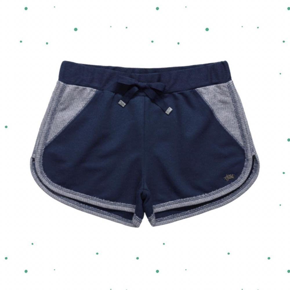 Shorts Teen Gloss Feminino em Moletinho Lurex na cor Azul Marinho