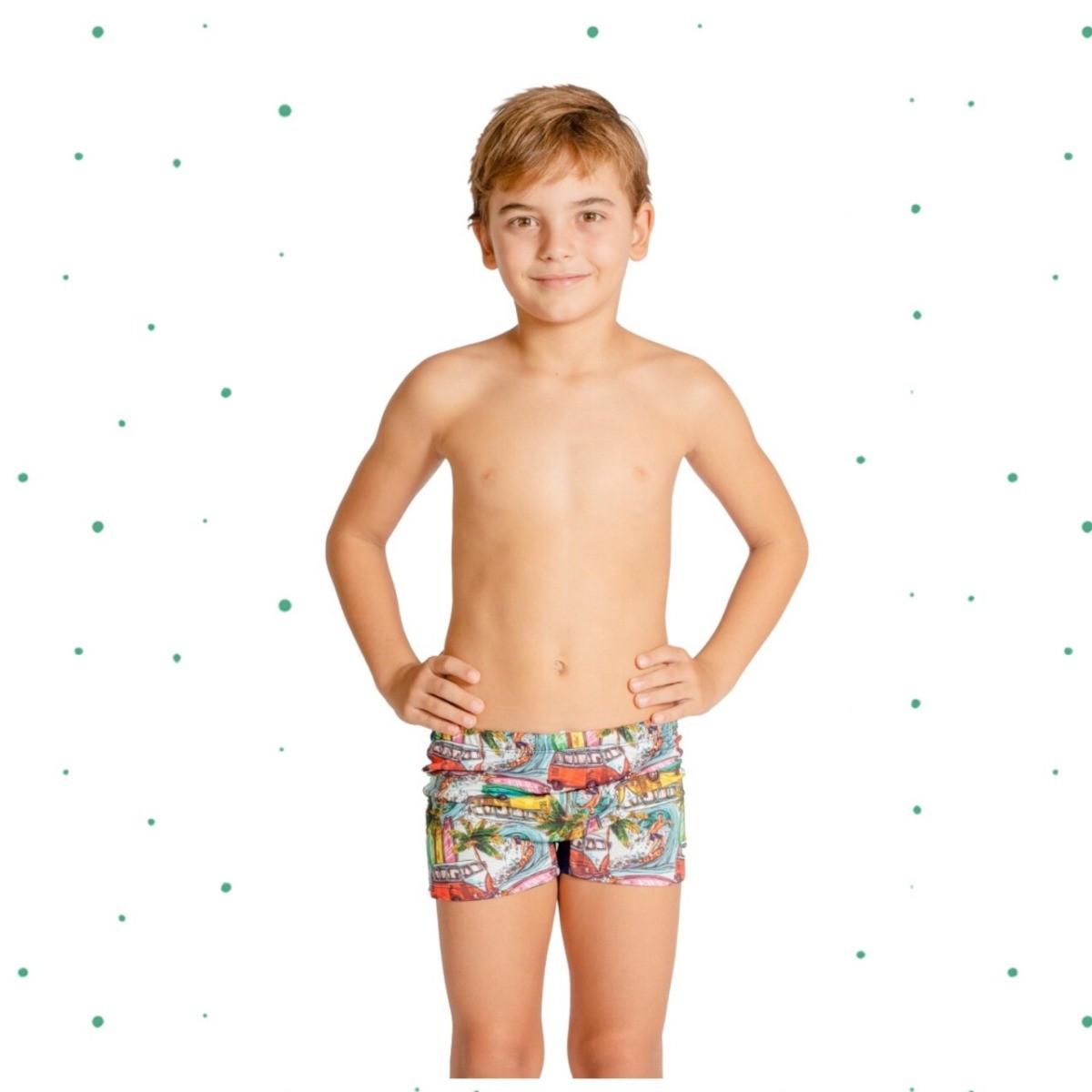 Sunga Boxer Infantil Magah Estampa Surfista e Kombi