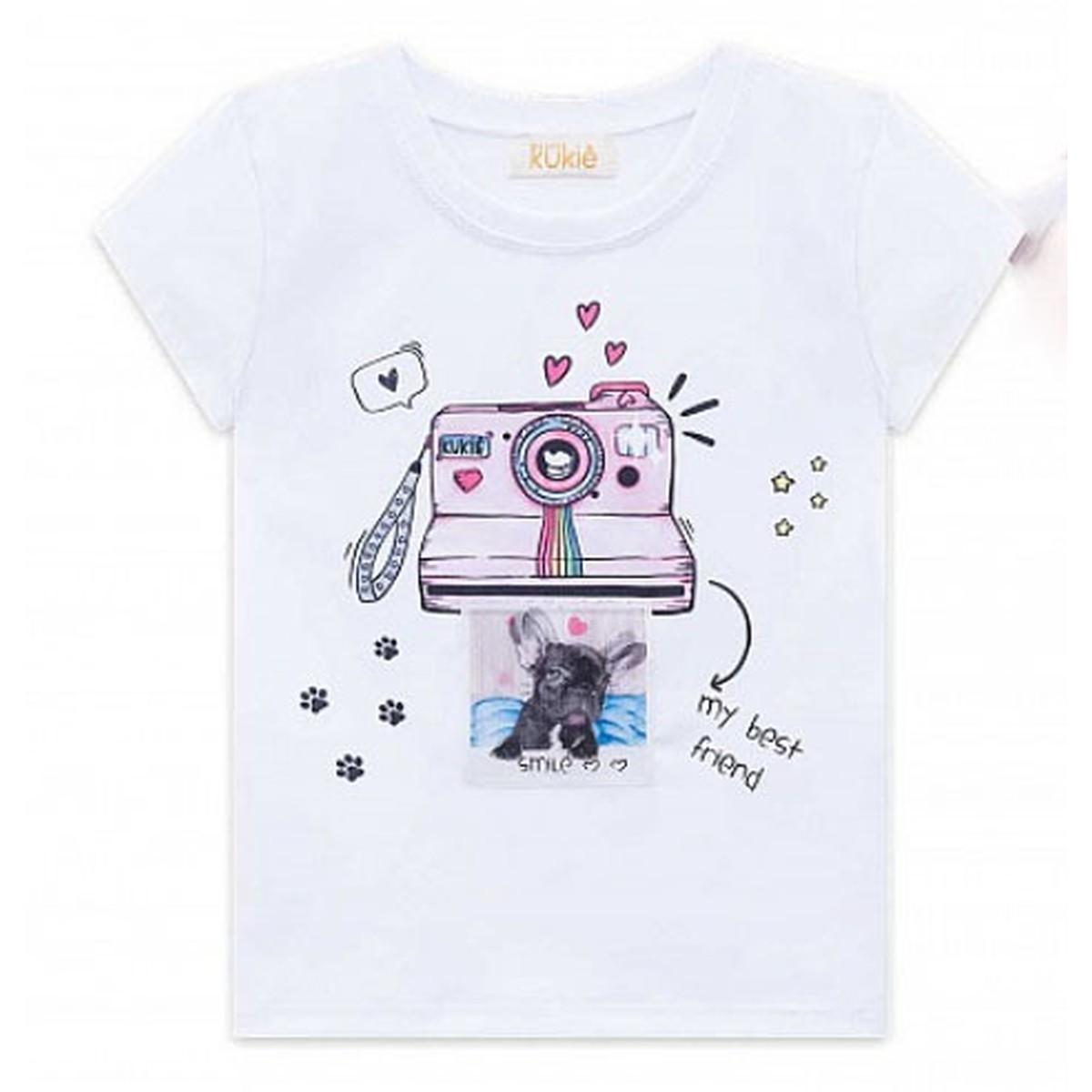 T-Shirt Menina Kukiê em Algodão Estampada Branca