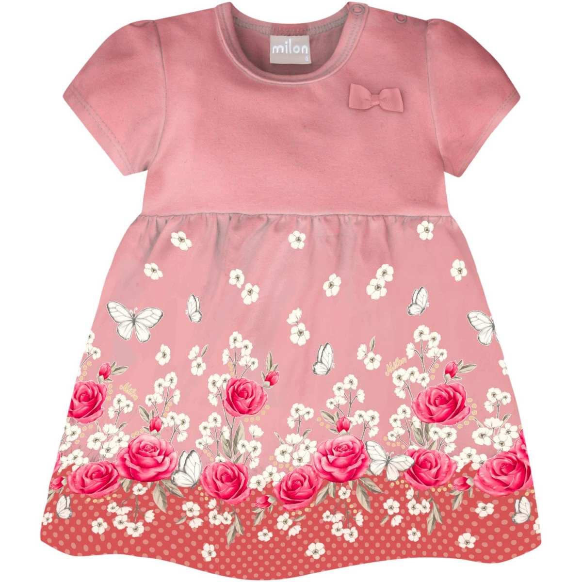 Vestido Bebê Menina Milon em Cotton - Rosa Creme