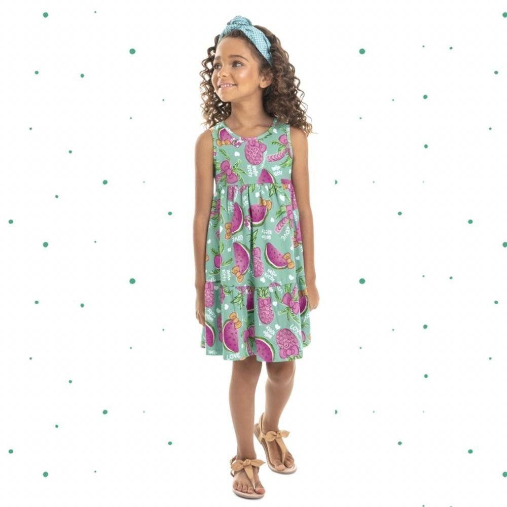 Vestido Curto Infantil Hello Kitty em Algodão Verde.88145