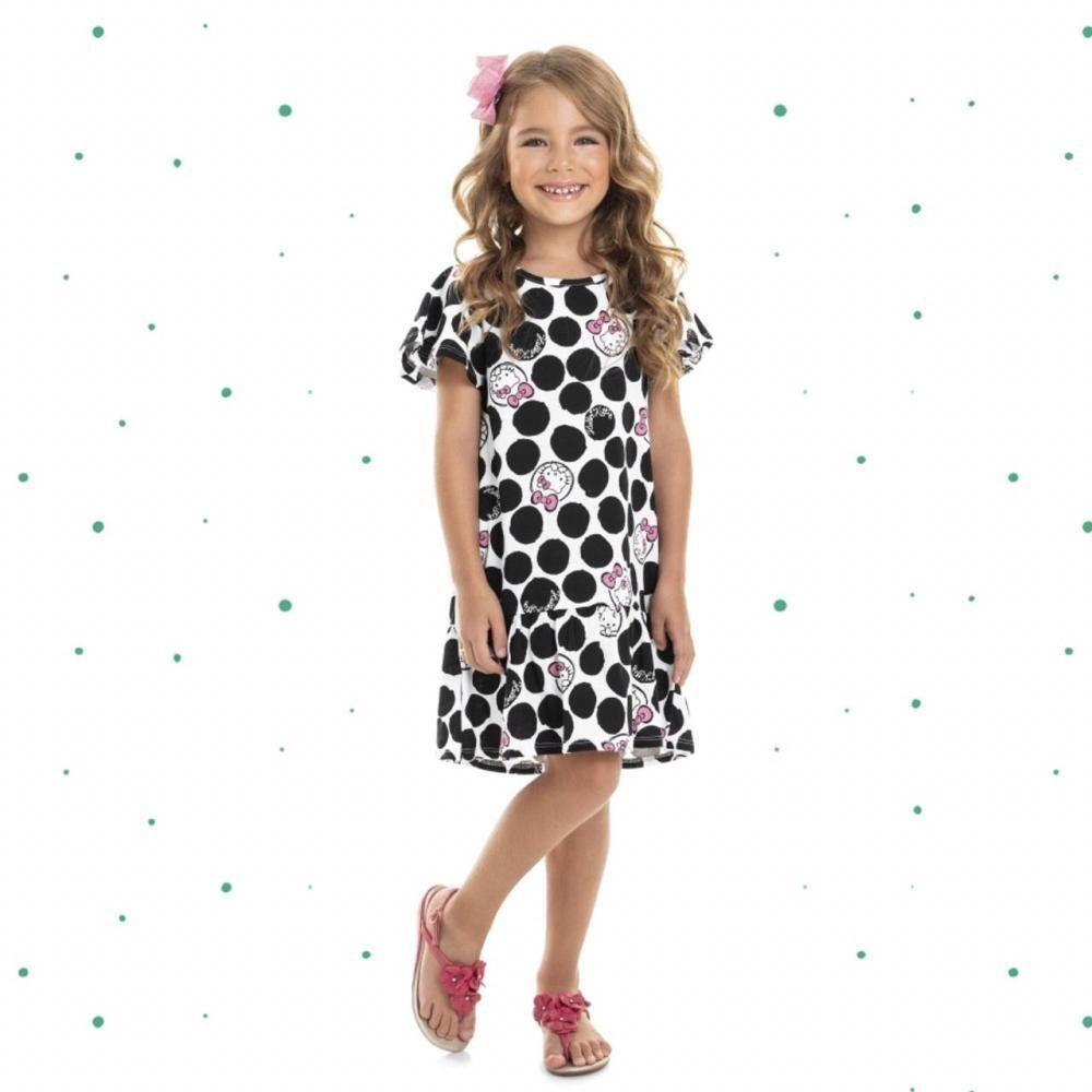 Vestido Hello Kitty em 100% Algodão com Estampa em Poá