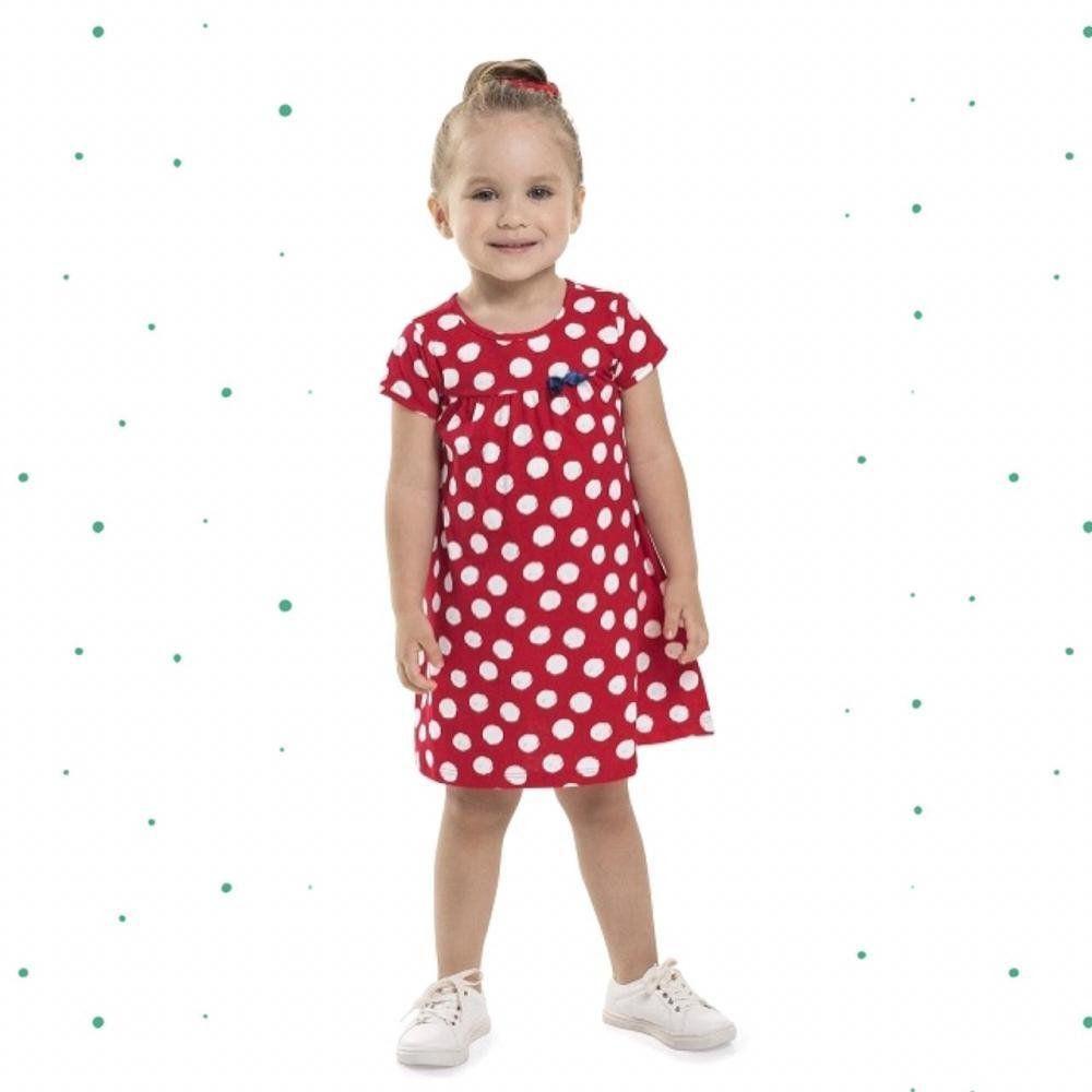 Vestido Infantil Bee Loop em Algodão com Estampa em Poá Vermelho