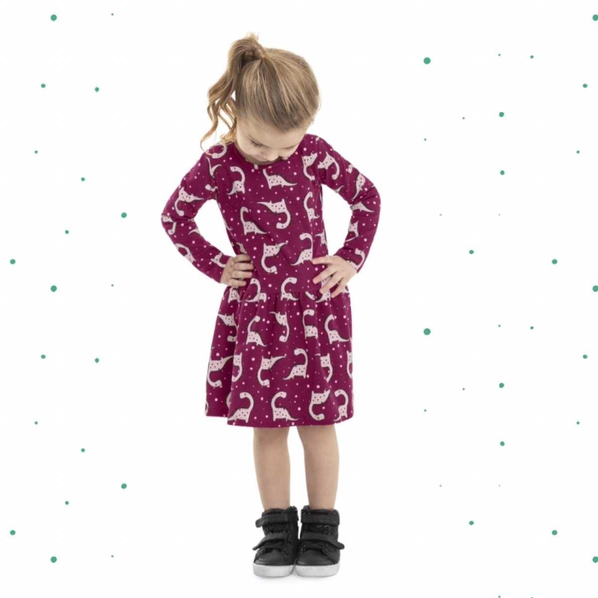 Vestido Infantil Bee Loop Estampado Manga Longa em Cotton na cor Roxa
