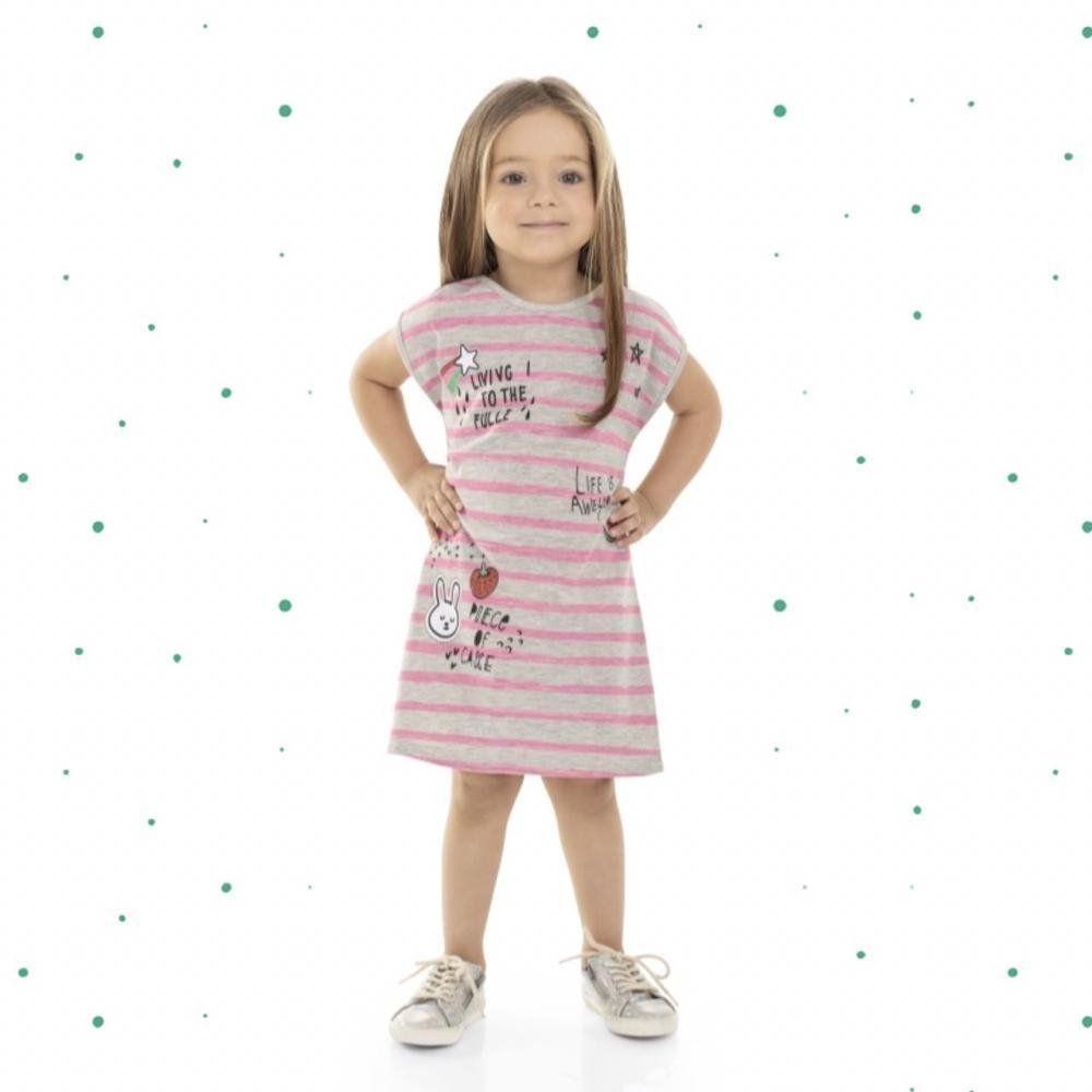 Vestido Infantil Bee Loop Manga Curta em 100% Algodão na cor Mescla