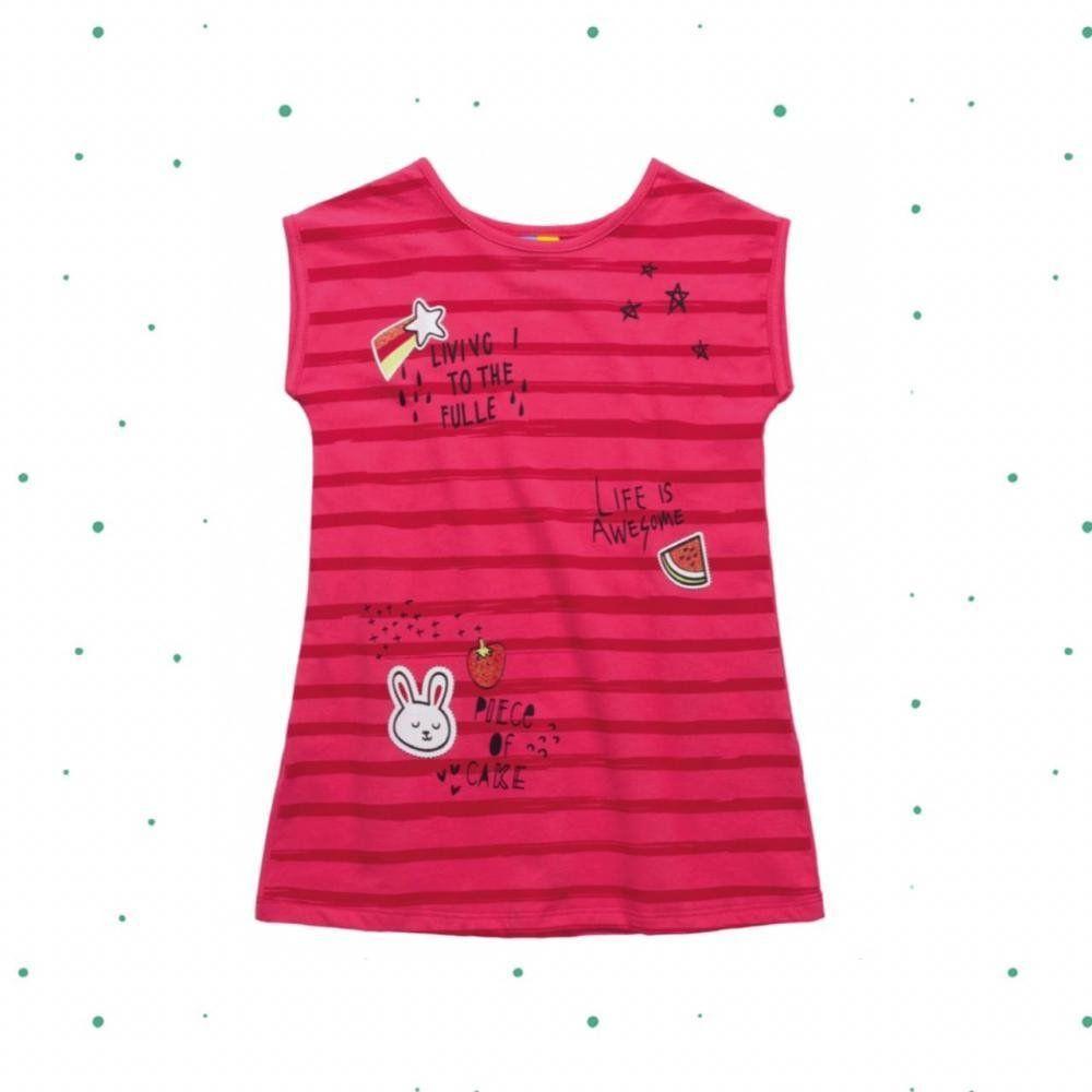 Vestido Infantil Bee Loop Manga Curta em 100% Algodão na cor Pink