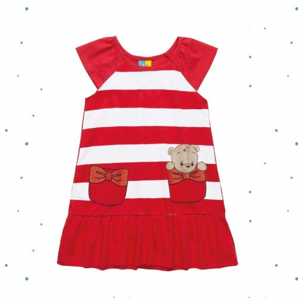 Vestido Infantil Bee Loop sem Manga em Algodão Listrado na cor Vermelho
