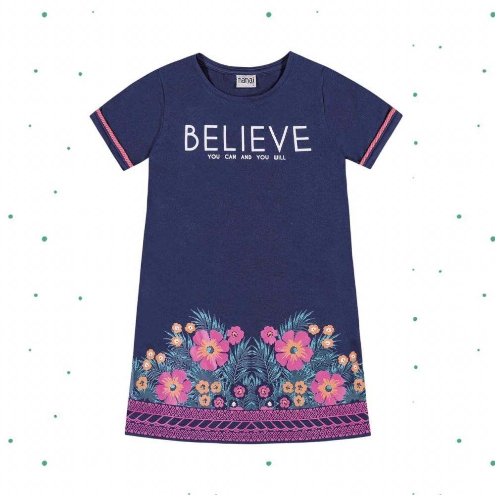 Vestido Infantil Curto Nanai em 100% Algodão Azul Profundo