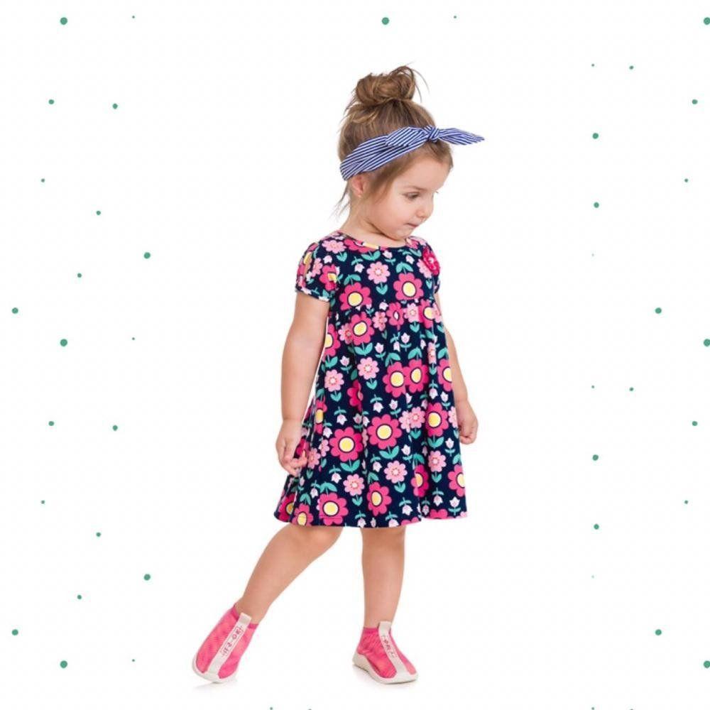 Vestido Infantil Feminino Kyly Manga Curta em Cotton