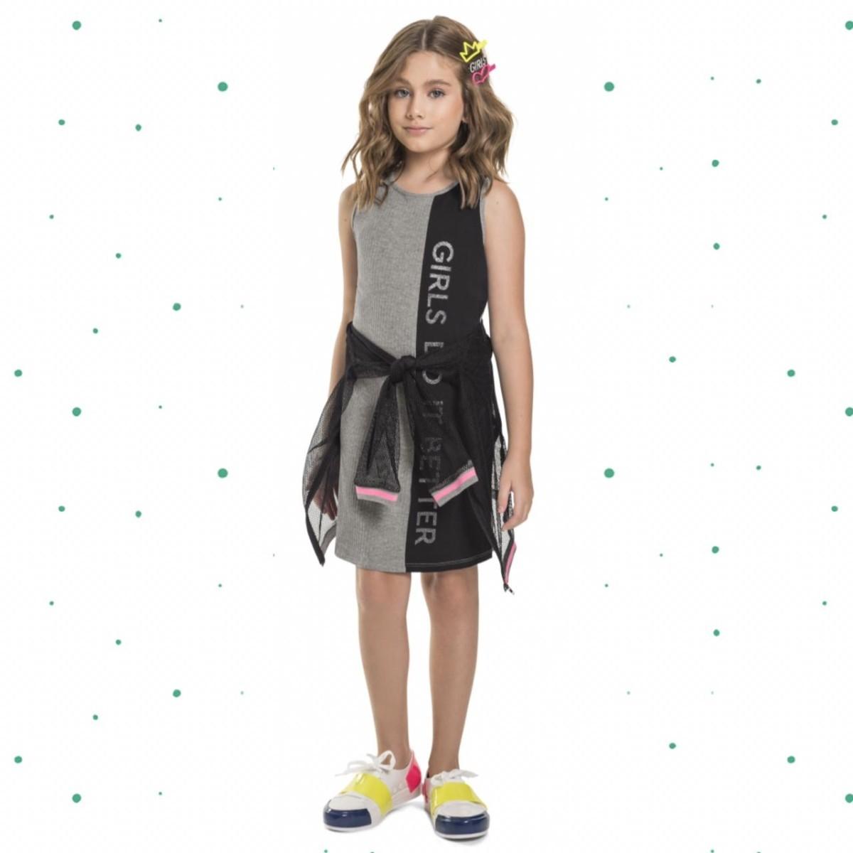 Vestido Infantil Gloss em Malha Canelada