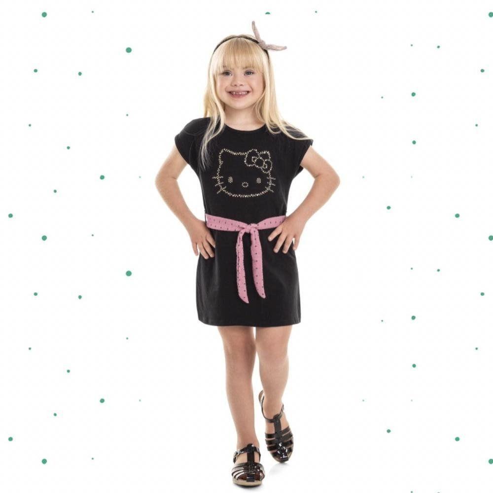 Vestido Infantil Hello Kitty em Cotton Preto