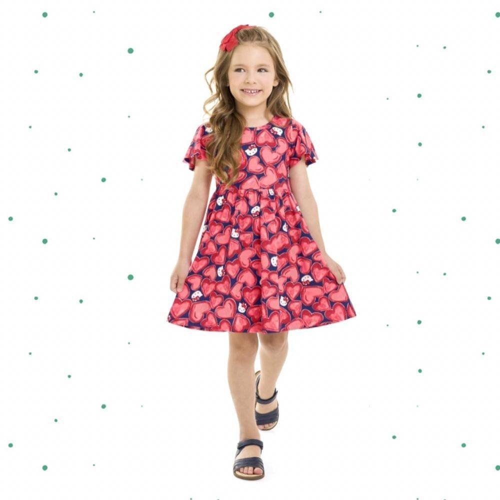 Vestido Infantil Hello Kitty Manga Curta em Algodão Estampado Vermelho