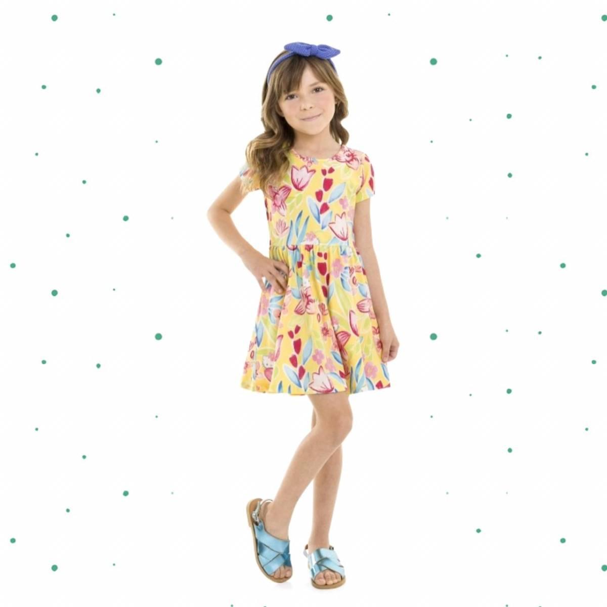 Vestido Infantil Hello Kitty Manga Curta em Cotton Floral