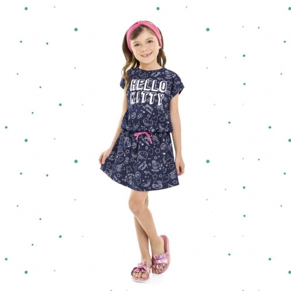 Vestido Infantil Hello Kitty Manga Curta em Malha Jeans Azul Marinho