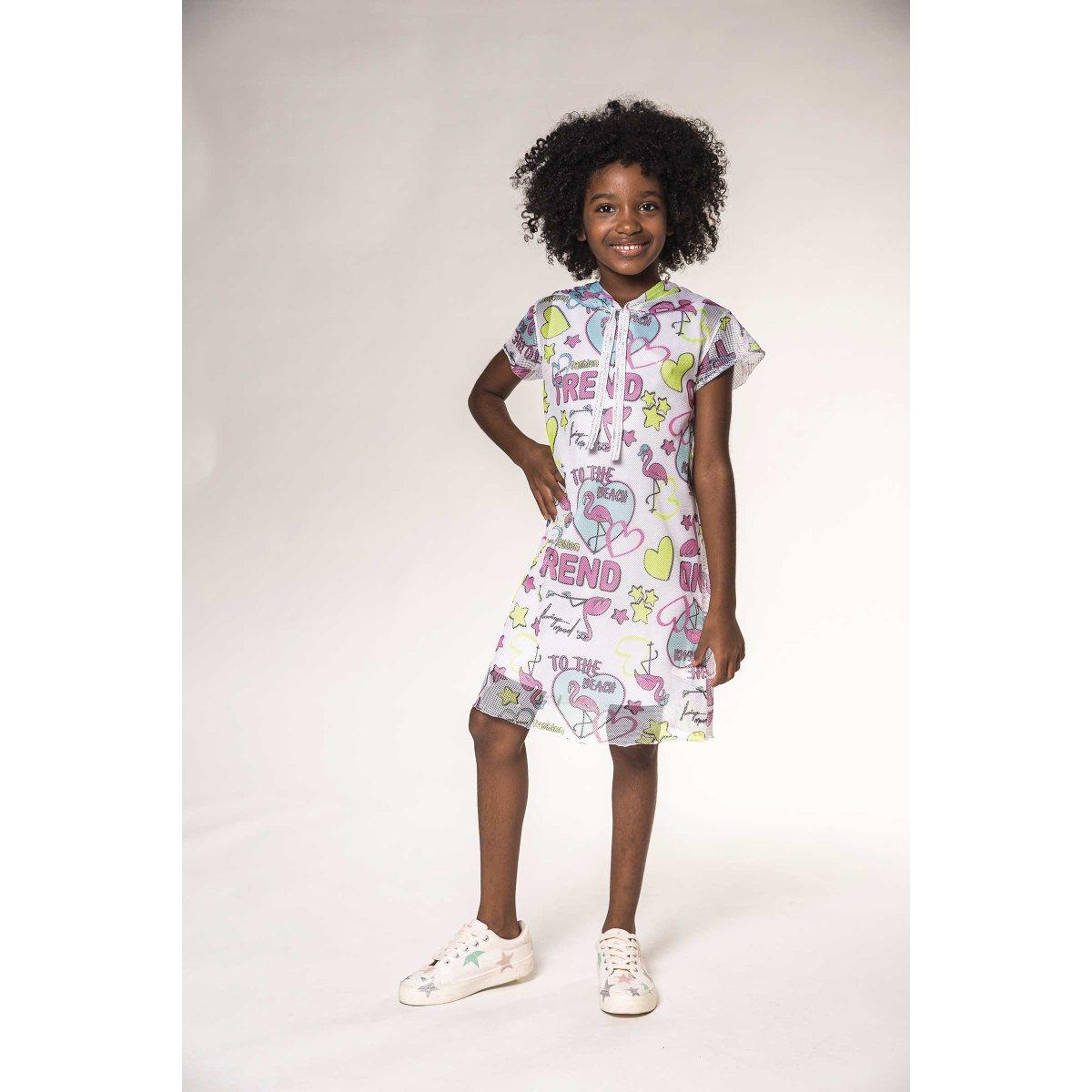 Vestido Infantil Kukiê em Cotton e sobreposição