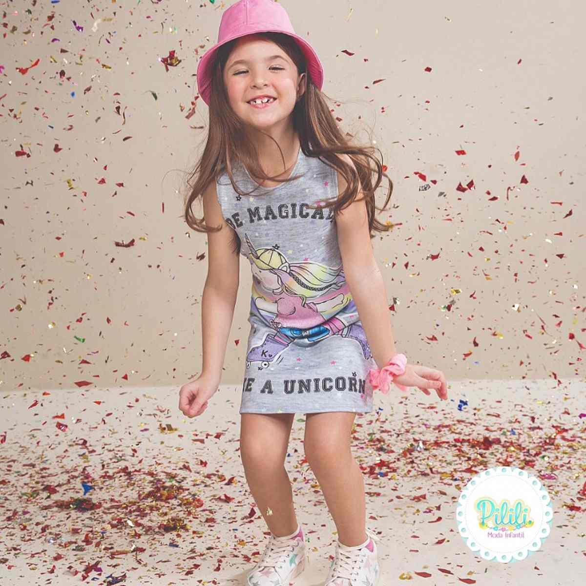 Vestido Infantil Kukiê em Fly Tech Cinza