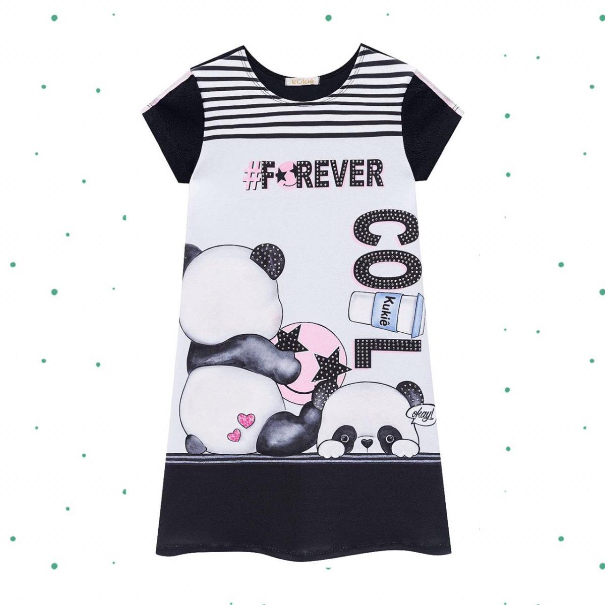 Vestido infantil Kukiê em Malha Crepe Panda