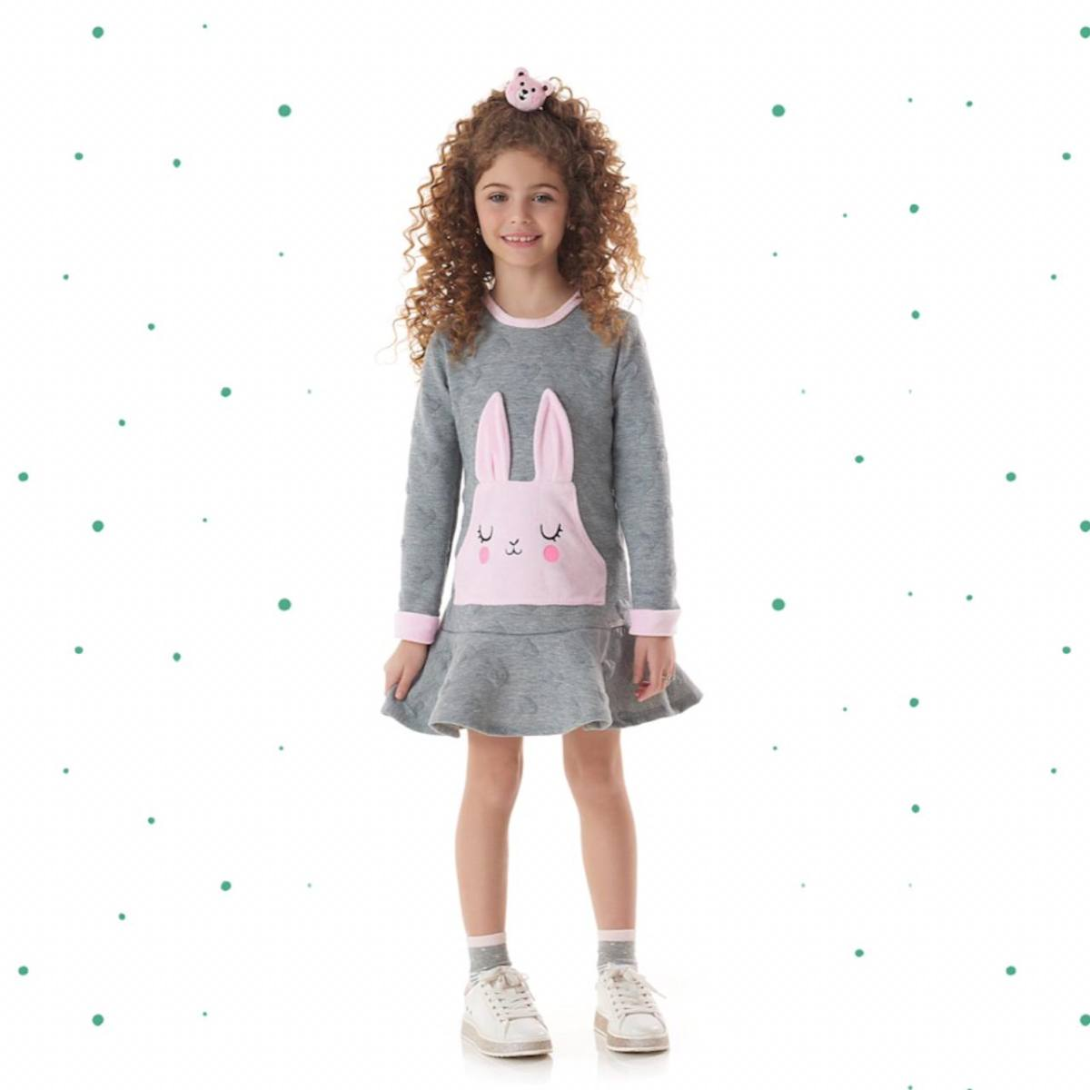 Vestido Infantil Kukiê em Malha Jacquard