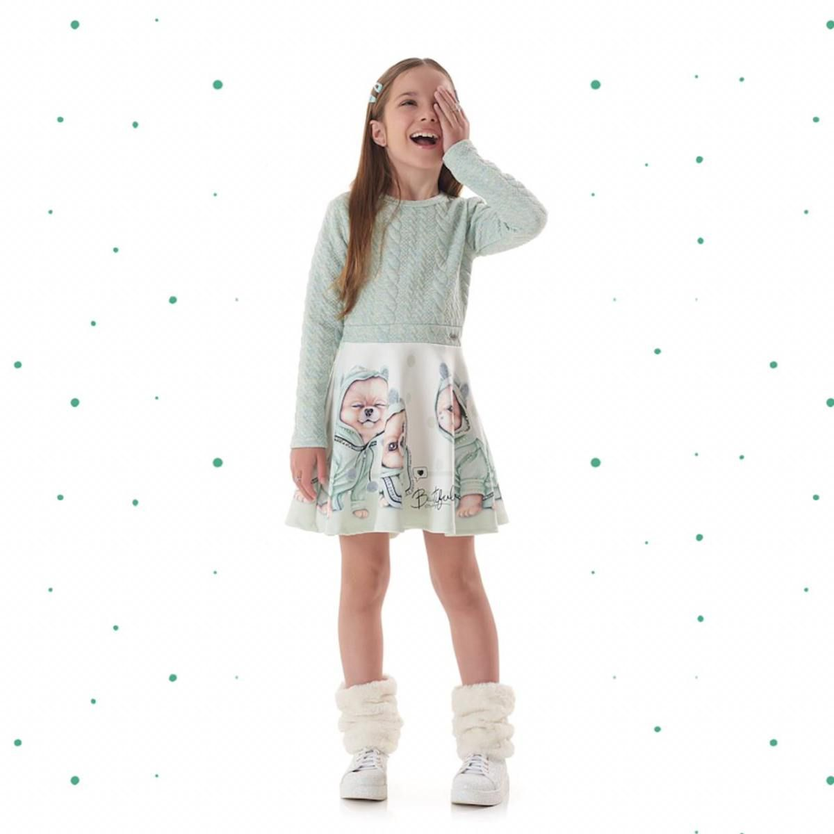 Vestido Infantil KuKiê em Malha Jacquard e Malha Fly Tech