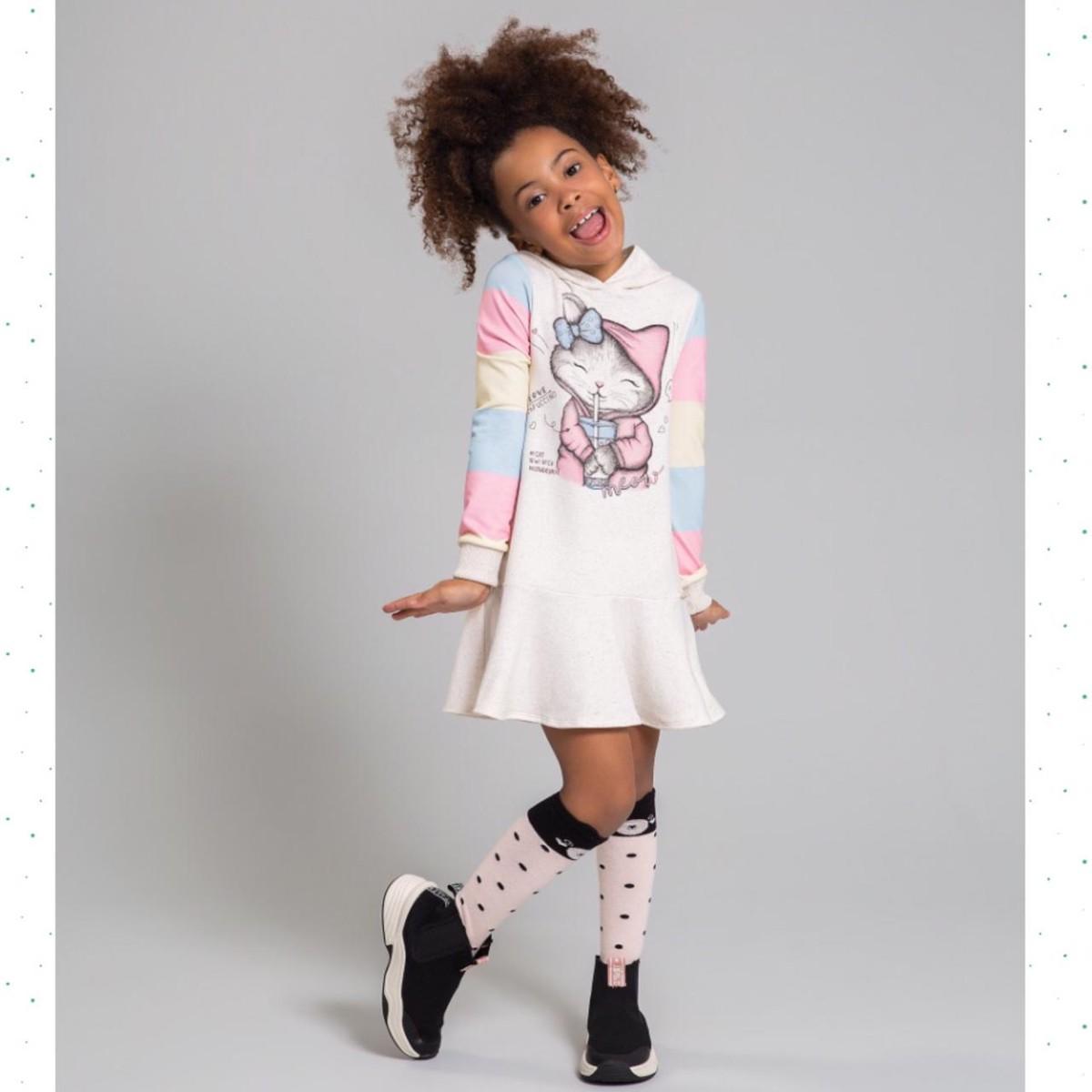 Vestido Infantil Kukiê em Molecotton Estampado com Capuz