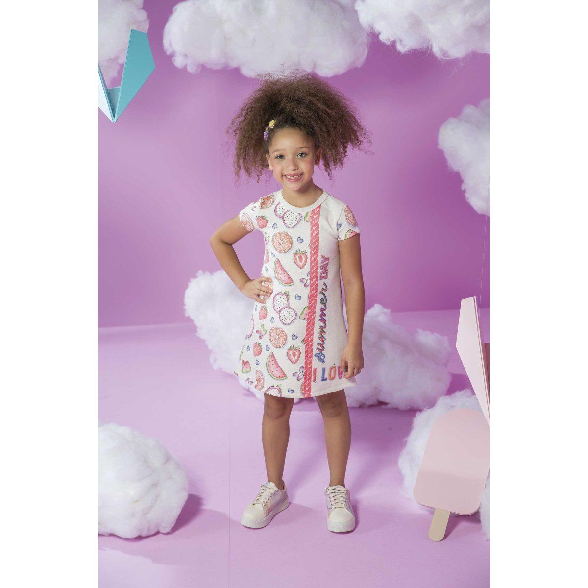 Vestido Infantil Kukiê em Moletom Linho