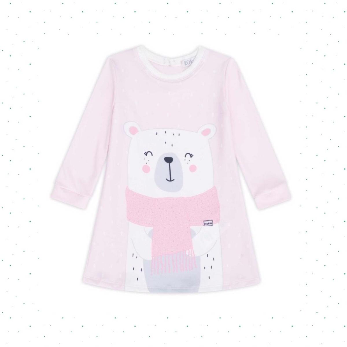 Vestido Infantil Kukiê em Suedine Estampa Urso Rosa
