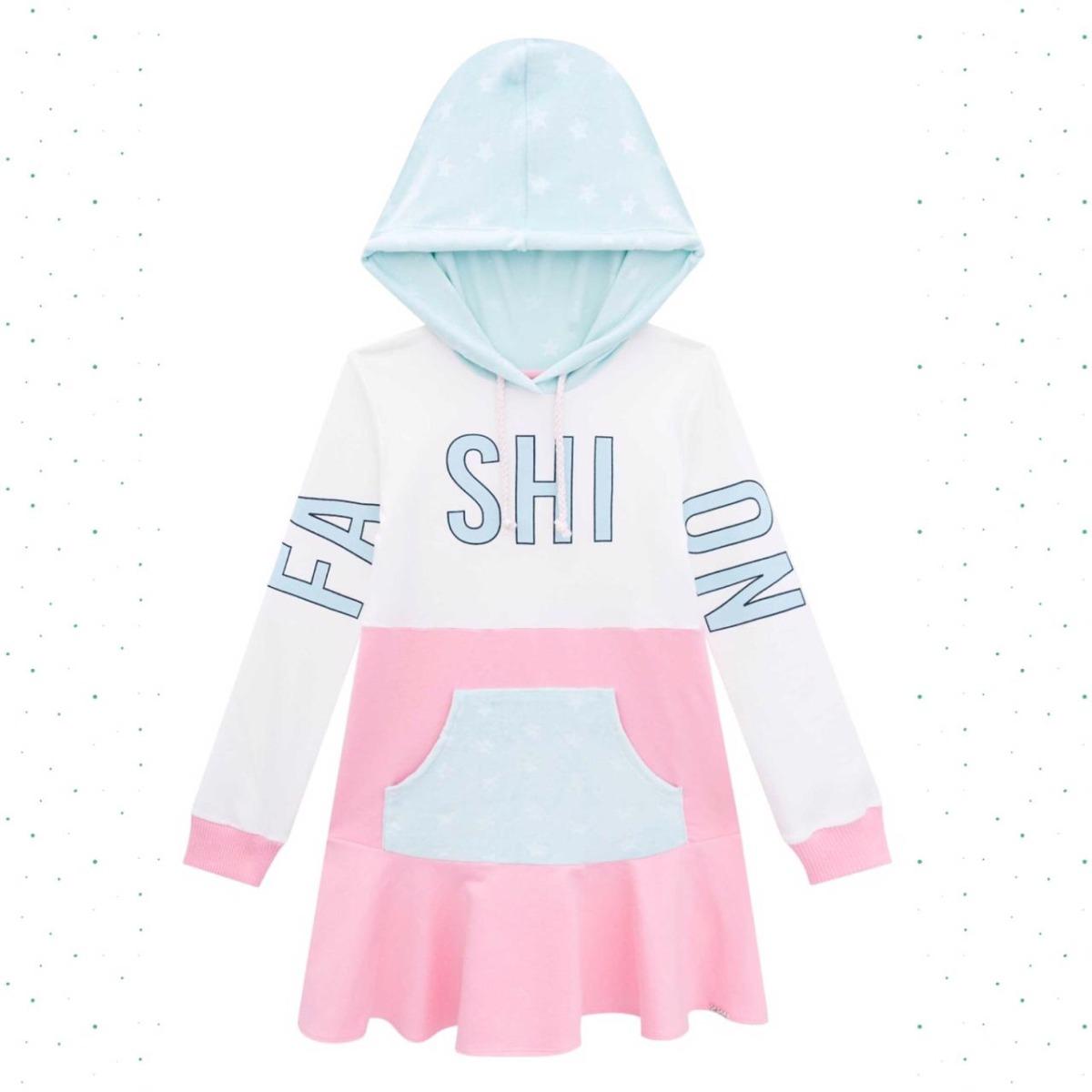 Vestido Infantil Kukiê Molecotton e Pelo Estampada com Capuz