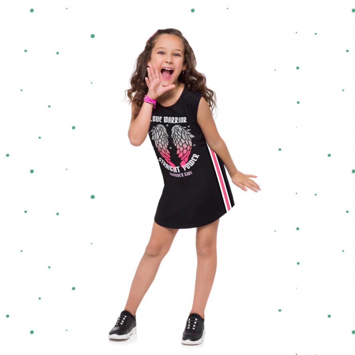 Vestido Infantil Kyly em Algodão com Estampa com Glitter