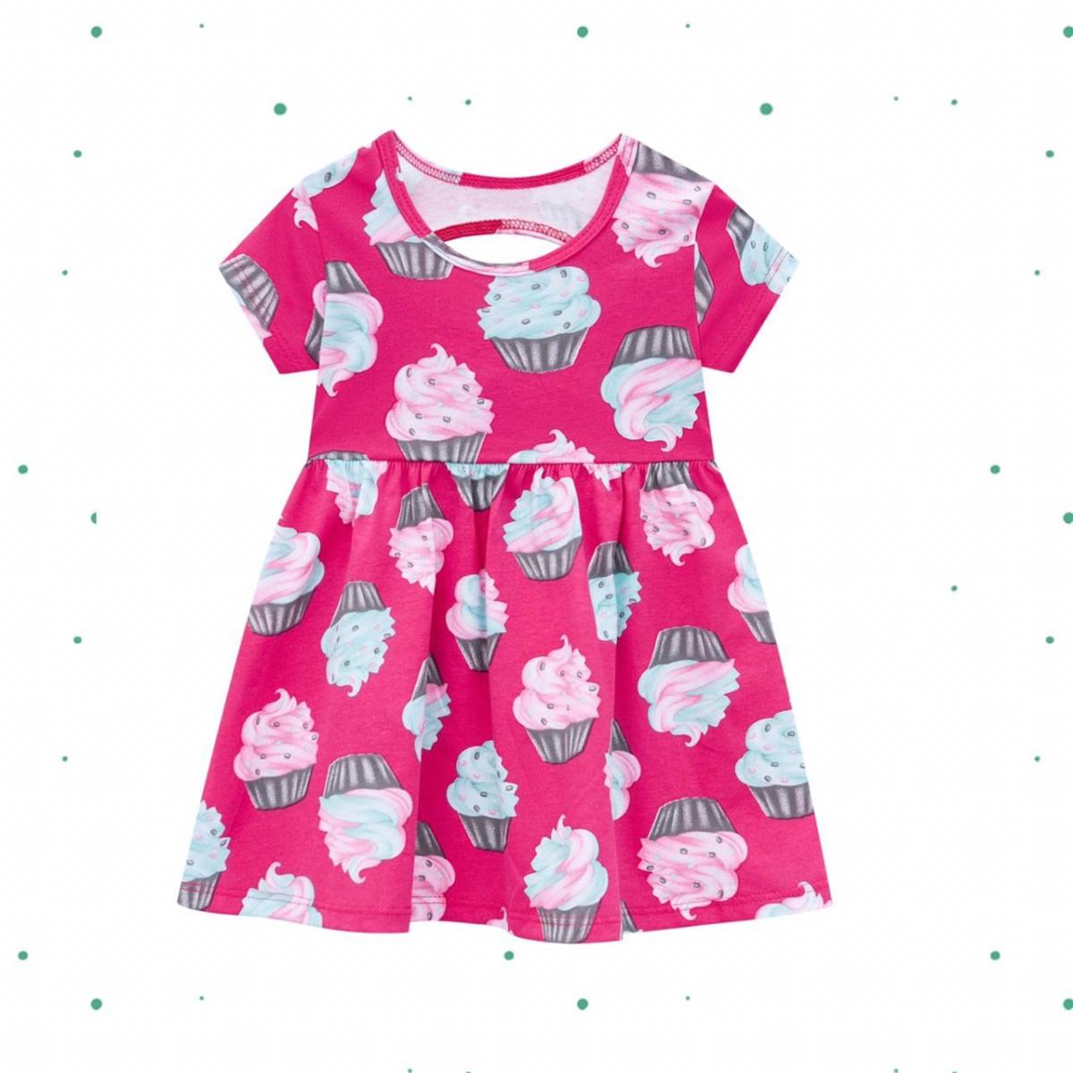 Vestido Infantil Kyly em Algodão na cor Rosa Choque