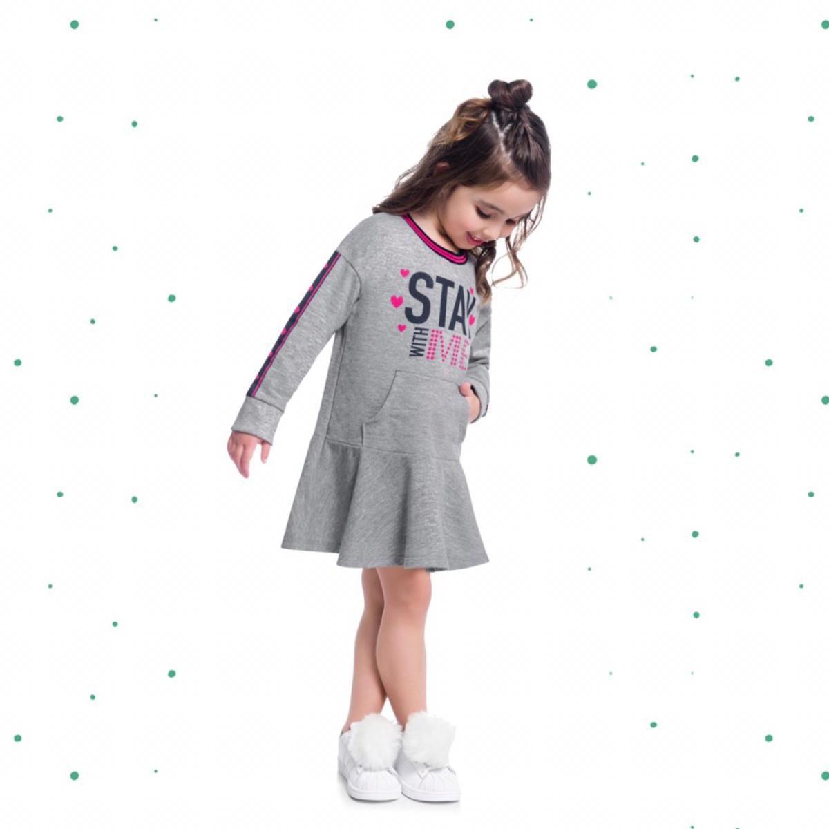 Vestido Infantil Kyly em Moletinho Estampado