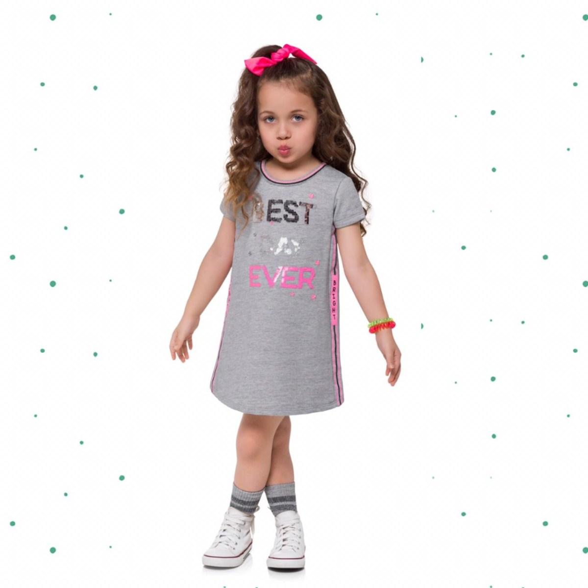 Vestido Infantil Kyly em Moletinho Leve