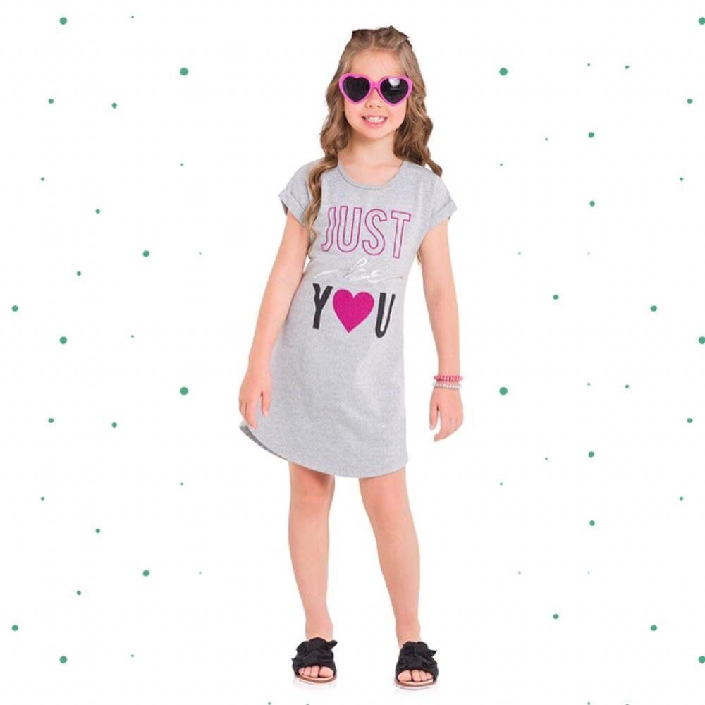 Vestido Infantil Kyly em Moletinho na cor Mescla