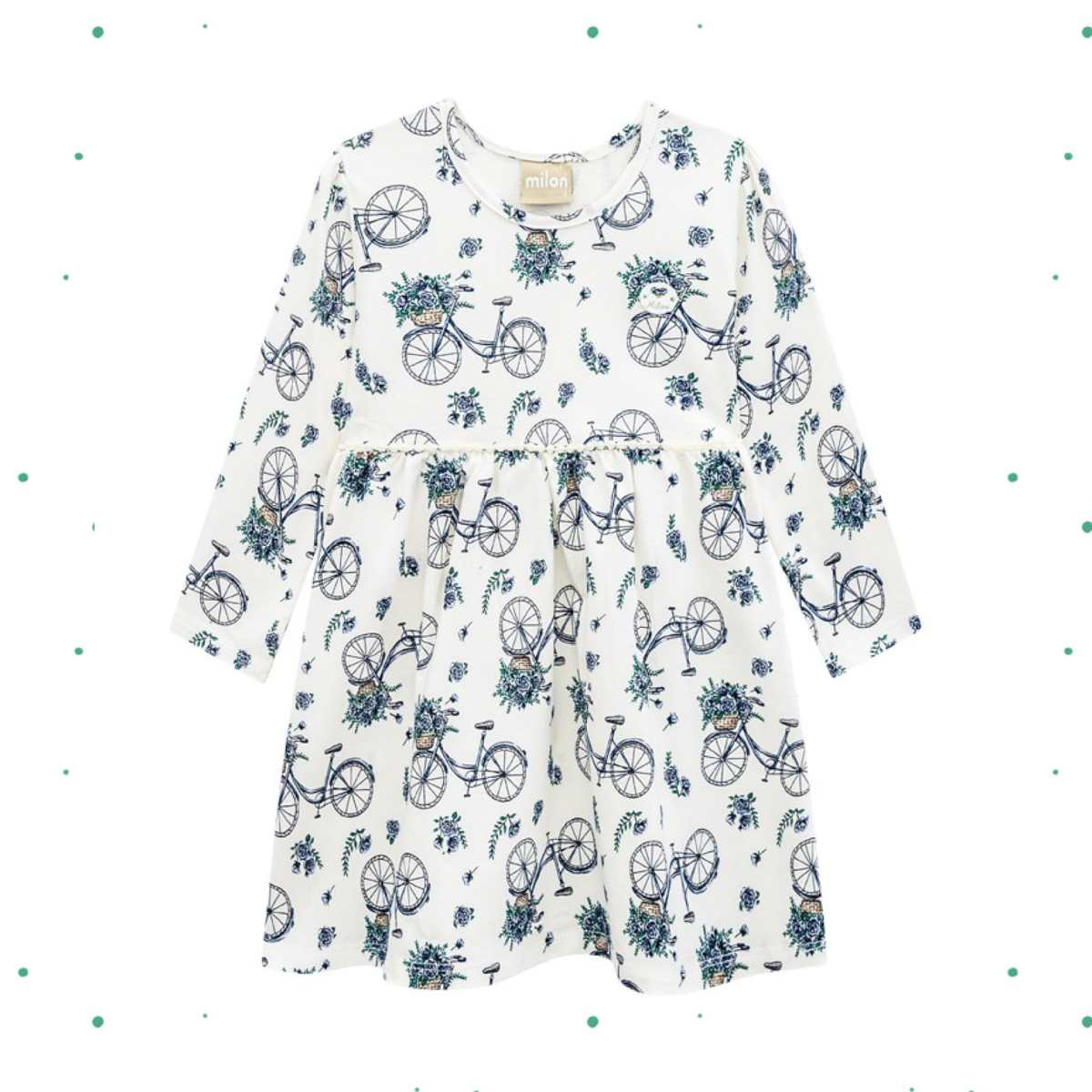 Vestido Infantil Manga Longa Milon em Cotton