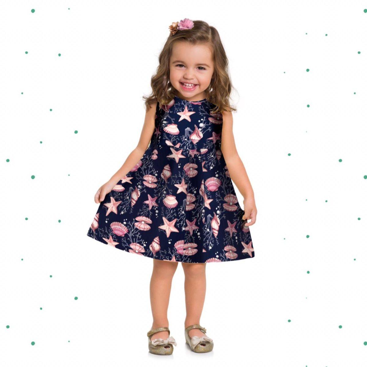 Vestido Infantil Milon em Cotton Azul Marinho