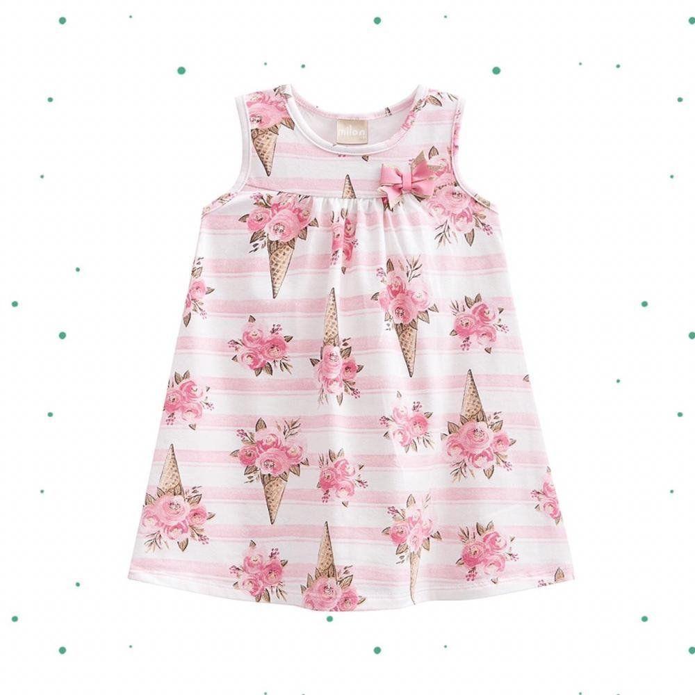 Vestido Infantil Milon em Cotton com Aplique de Laço