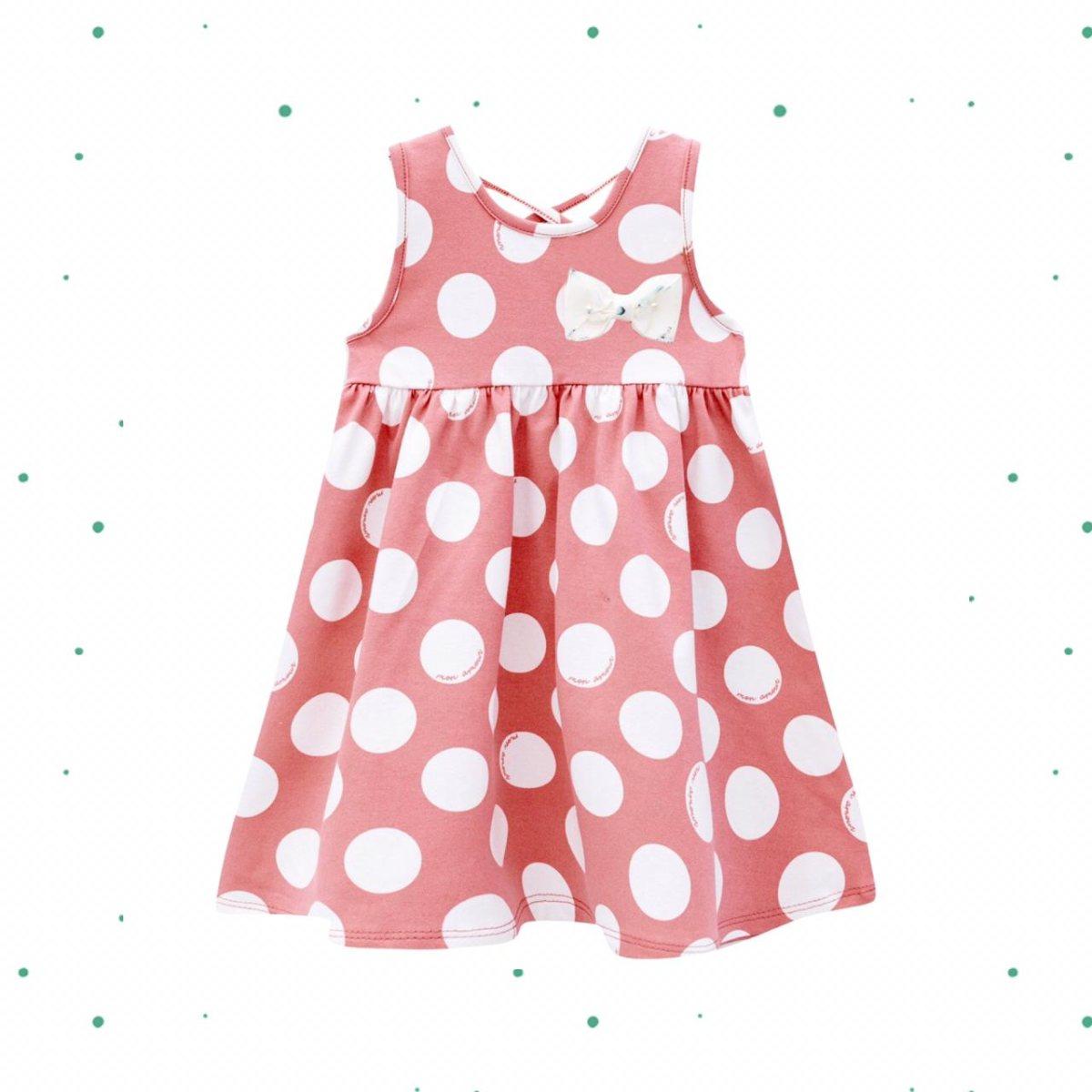 Vestido Infantil Milon em Cotton cor Rosa e Branco
