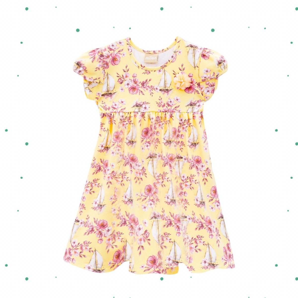 Vestido Infantil Milon em Cotton na Cor Amarelo