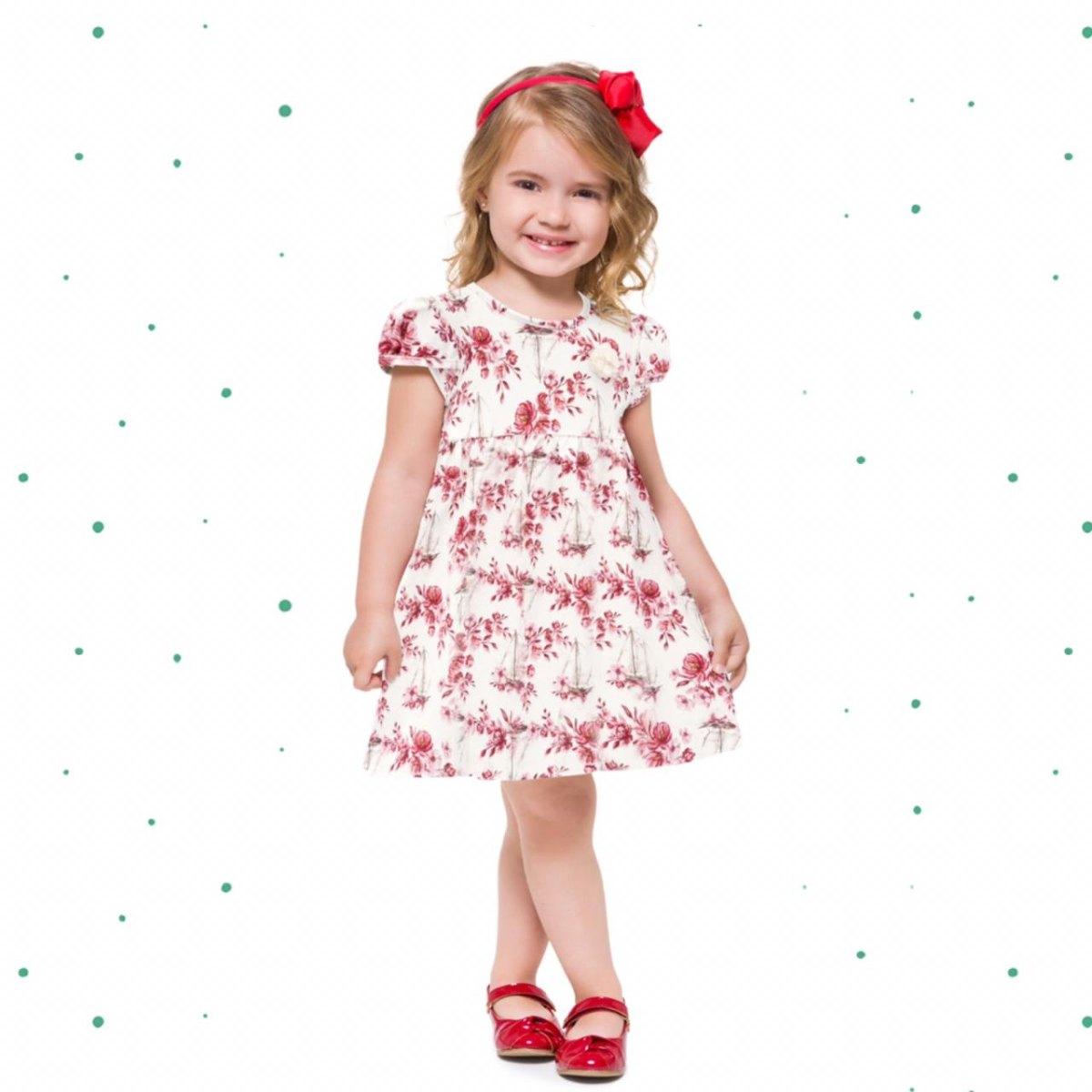Vestido Infantil Milon em Cotton na Cor Off White