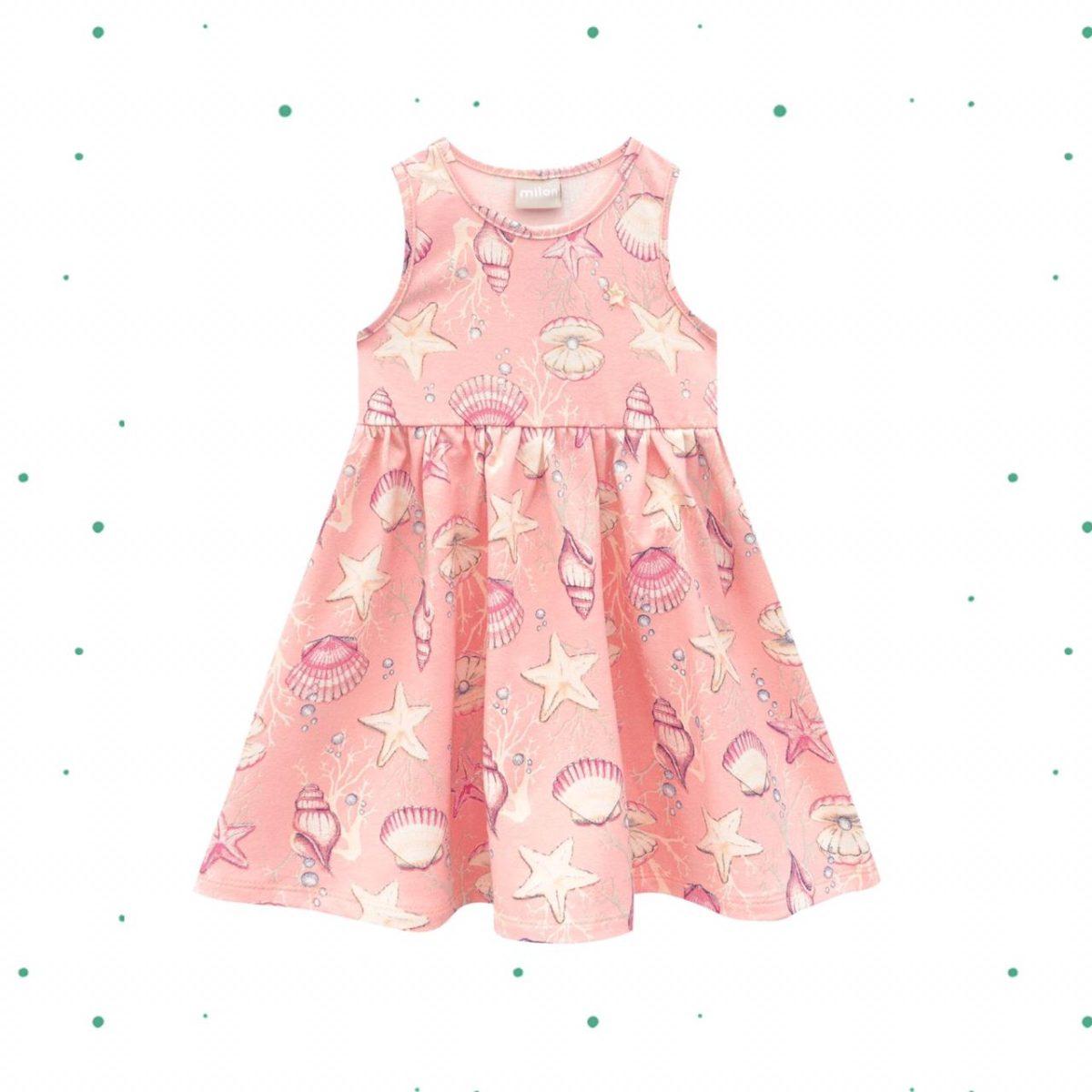 Vestido Infantil Milon em Cotton Rosa