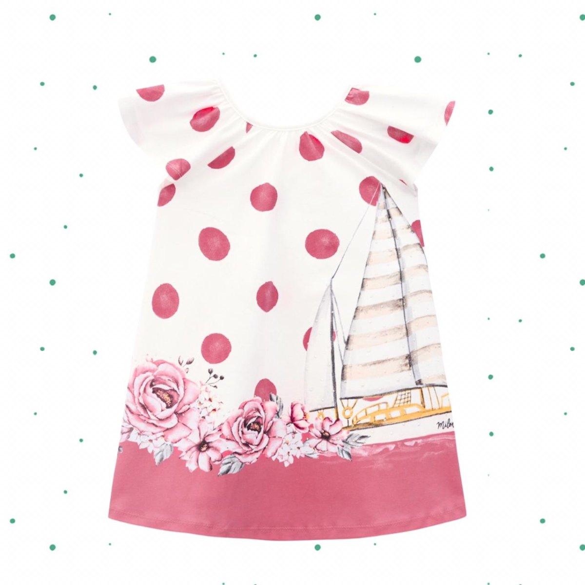 Vestido Infantil Milon em Cotton Vermelho Carmin
