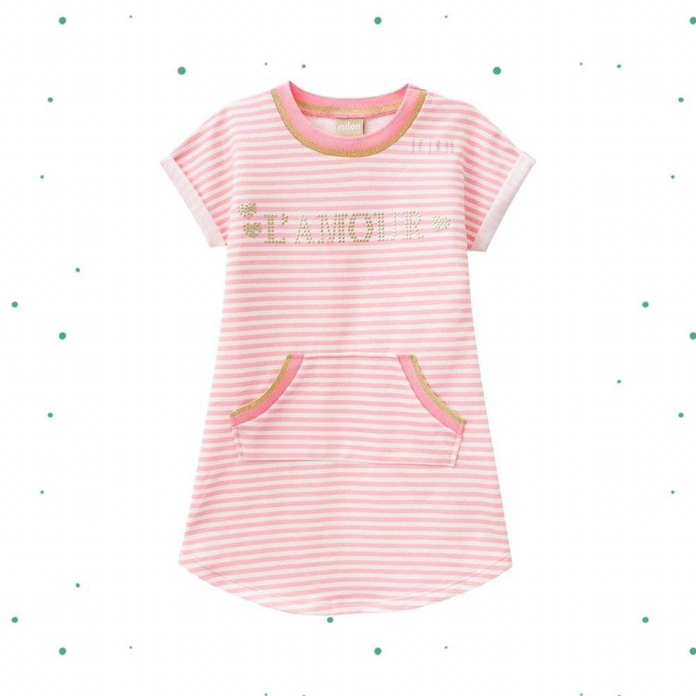 Vestido Infantil Milon em Moletinho com Bolso Canguru Rosa