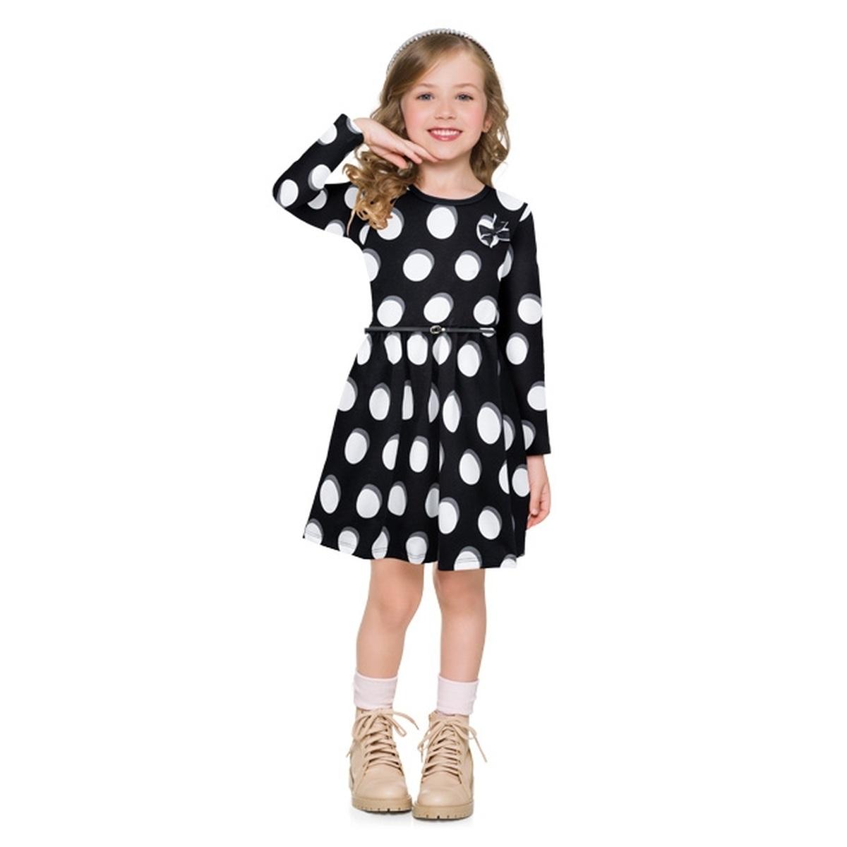 Vestido Infantil Milon em Moletinho cor Preto