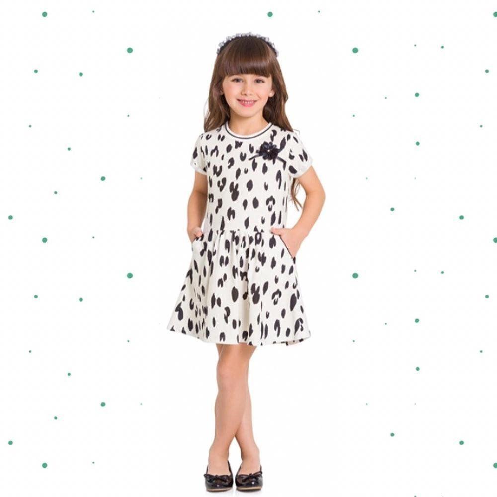 Vestido Infantil Milon em Moletinho Leve com Aplique de Flor