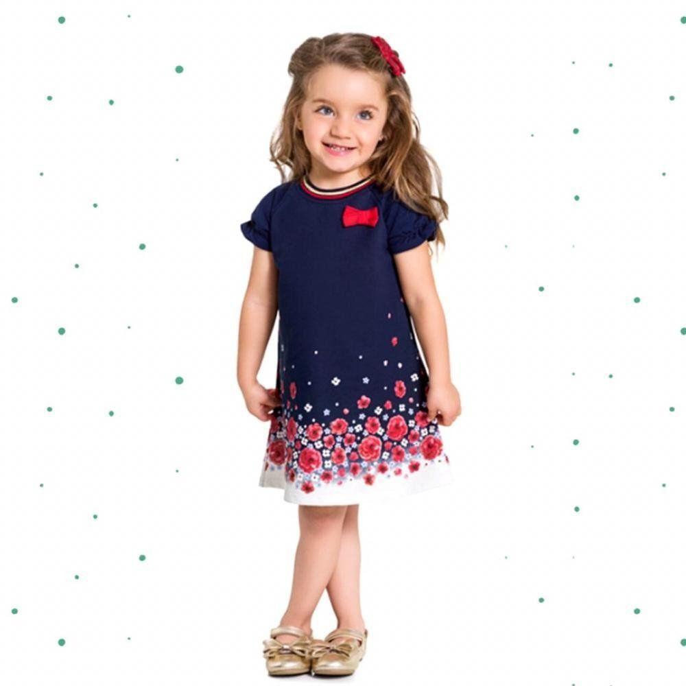 Vestido Infantil Milon em Moletinho Leve com Aplique de Laço