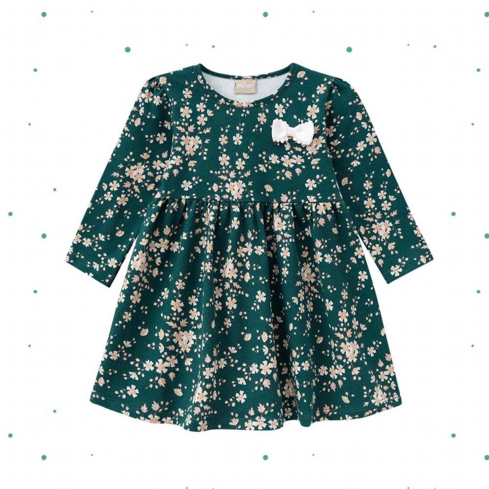 Vestido Infantil Milon emCottoncom Estampa Floral e Laço na cor Verde Pinheiro