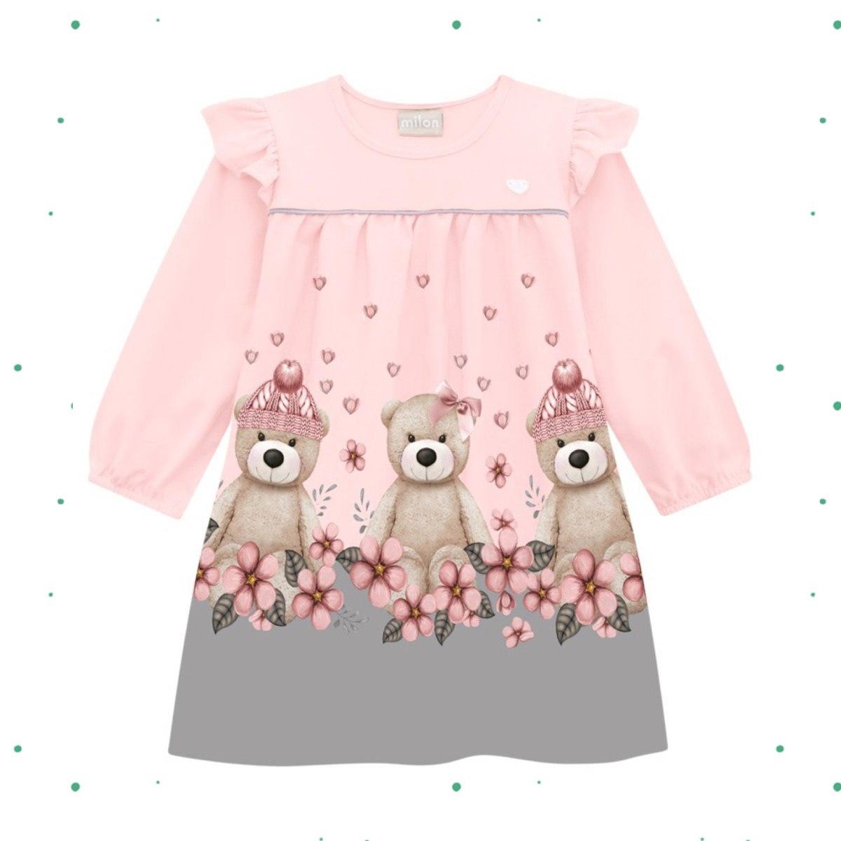 Vestido Infantil Milon Manga Longa Cotton e Malha Rosa